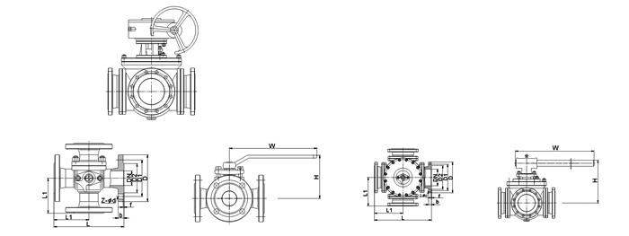 不锈钢电动四通换向球阀
