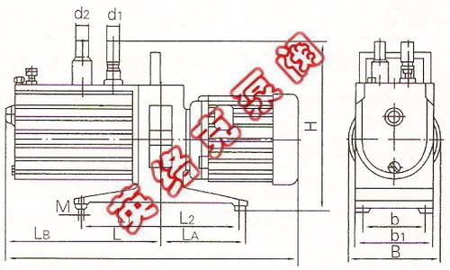 2xz型旋片式真空泵系双级高速直联结构旋片式真空泵