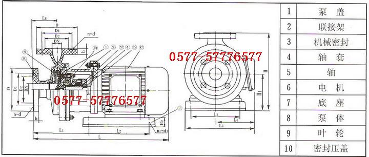 六、S型玻璃钢离心泵使用注意事项: 1、本泵在安装前根据选定泵型,按外形及安装尺寸做好地脚基础,安装时根据管路位置的要求, 尽量使安装的位置便利管理和维修。 2、安装的位置如果高于液面,必须附装灌液装置。 3、泵起动前先将液体灌满泵体后开车,严禁无介质运转和倒转,否则泵体内因缺泛液体冷却而 损坏机械密封。 4、停车时应关闭液管阀门,避免液体倒流。 5、维修时,先拆下泵体,再松开机械密封螺钉,拆下机械密封。 6、如果更换滚珠轴承或泵轴时,必须拆下机架,松开前端轴承盖4只螺钉。拆下泵轴后端螺母和 联轴器,将泵