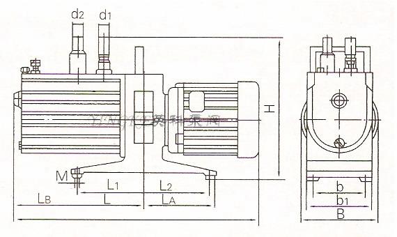 2xz双级旋片式真空泵安装尺寸