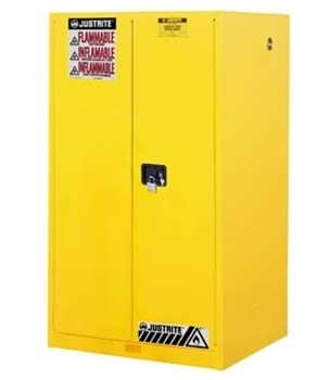 Safety Cabinet - Sure-Grip® Ex For Flammables 60 Gal 2 Manual Doors 2 Shelves Justrite® 896000 - Yellow Safety Cabinets for Flammables
