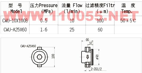 CWU-10x100B    CWU-A25X60    磁性过滤器