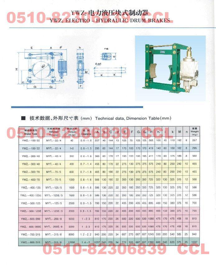 YWZ2-300/40 YWZ2-300/70 YWZ2-400/70 电力液压块式制动器