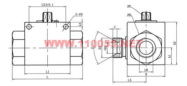 VH3V-M16×1.5 VH3V-M27×1.5 VH3V-M36×2 二位三通高压球阀