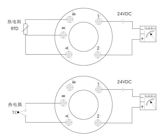 应用接线: 普通型一体化温度变送器接线
